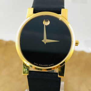 Movado Accessories - Vintage Movado Museum Gold Dot Swiss Leather Watch